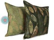 sierkussen groen veren meubelstof