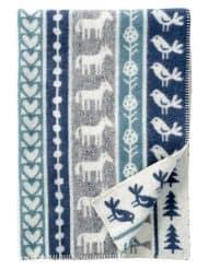 ledikantdeken blauw grijs wol klippan