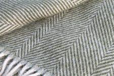 plaid groen wit visgraat wol