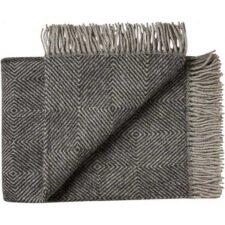 plaid zwart wol visgraatd eken silkeborg uldspinderi