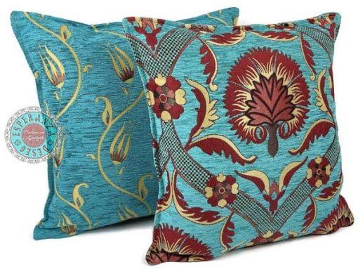 sierkussens turquoise meubelstof bloemen