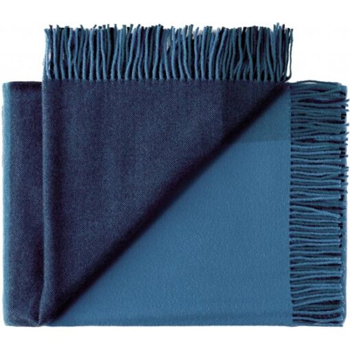 plaid blauw blokken wol