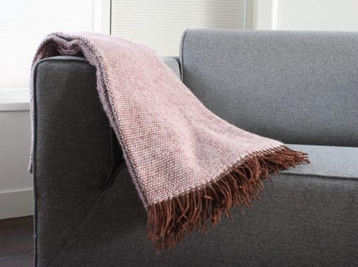 plaid bordeauxrood wol bruin