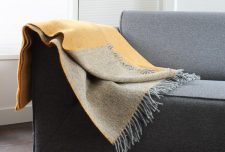 gele plaid grijs wol