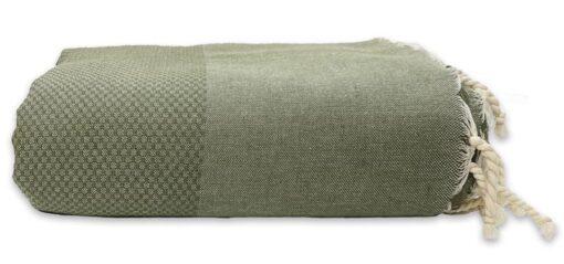 plaid olijfgroen grand foulard wafel katoen