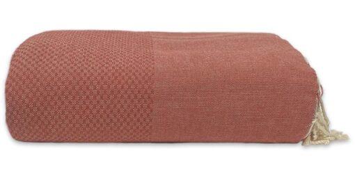 plaid terracotta wafel katoen donker