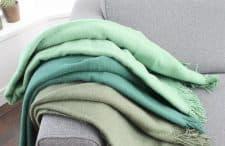 groene plaids effen wol