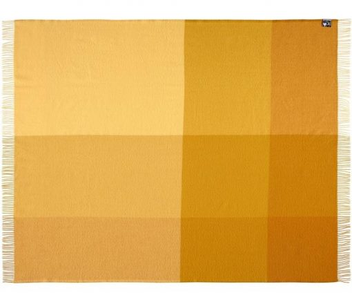plaid geel blokken merinowol