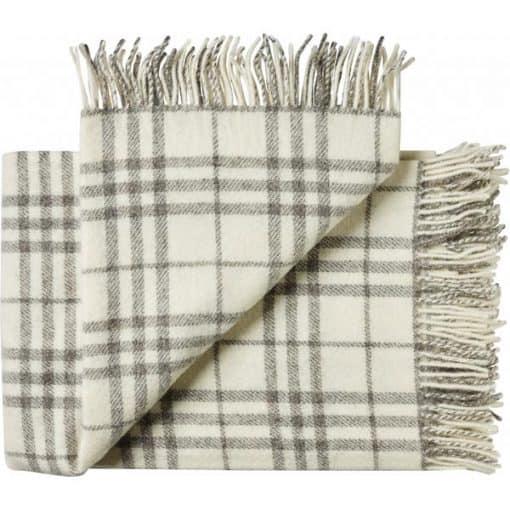 plaid grijs wit ruiten deken wol silkeborg