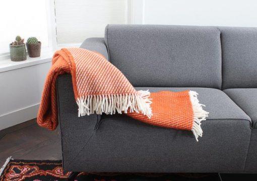 plaid oranje klippan lamswol