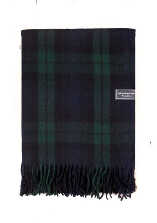 deken blauw groen ruiten wol plaid