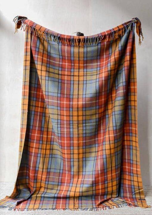 deken oranje blauw ruiten wol plaid
