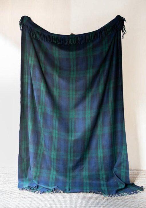 deken plaid groen blauw ruiten
