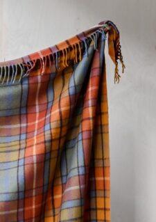 deken plaid oranje blauw ruiten wol