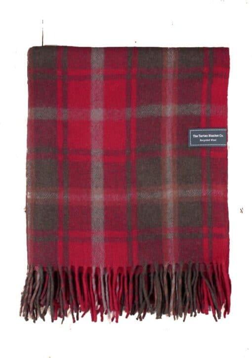 deken plaid rood ruiten wol recycled