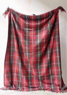 deken rood ruiten wol