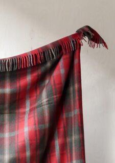 deken ruiten rood wol
