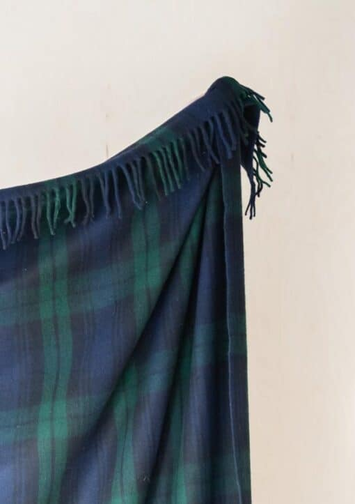 deken wol plaid ruiten groen blauw