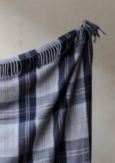 deken wol ruiten plaid blauw