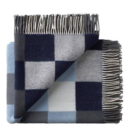 plaid blauw grijs merino wol blokken