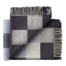 plaid grijs blokken wol merino