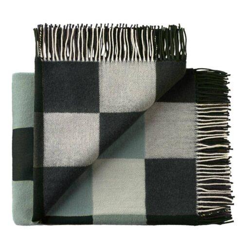 plaid groen grijs merino wol blokken