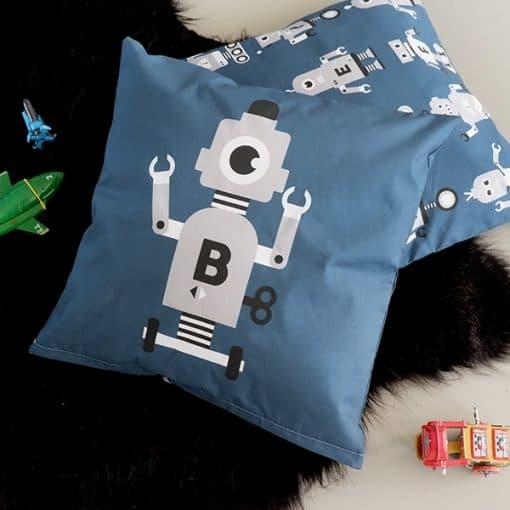 kussen robot blauw grijs kinderkamer
