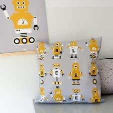 kussen robots grijs oker