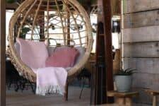 kussen roze plaid wol