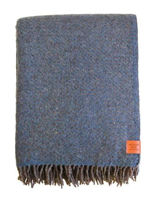 plaid blauw recycled wol klippan