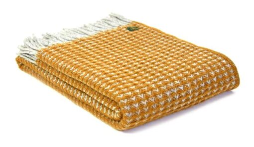 plaid geel mosterd wol