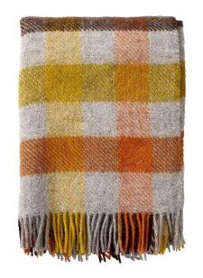 plaid geel oranje bruin grijs ruiten wol