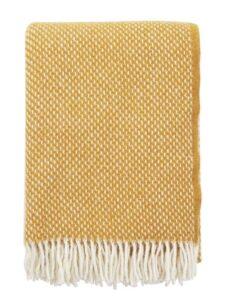 plaid okergeel wol klippan mosterdgeel