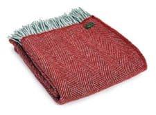 plaid rood grijs wol visgraat