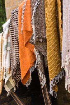 plaids geel oranje wol
