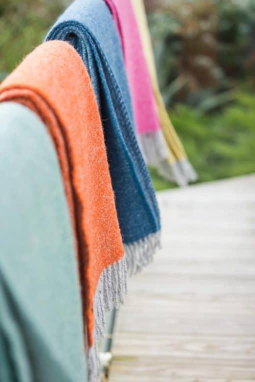plaids groen oranje blauw wol
