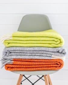 plaids oranje geel grijs wol