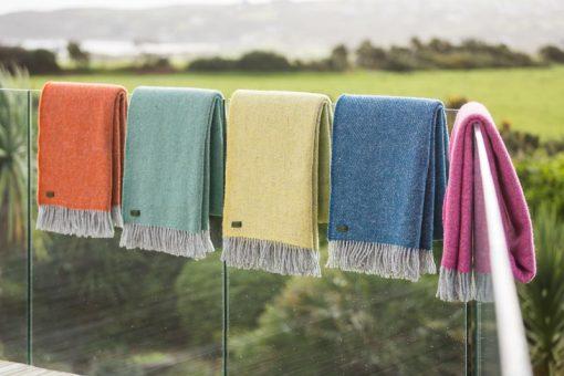 plaids oranje geel groen blauw wol