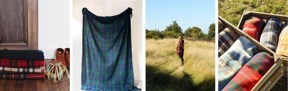 plaids recycled wol tartan blankets