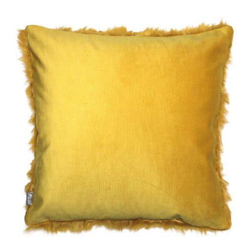 kussen geel bont vierkant achterkant