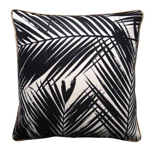 kussen palmbladeren zwart wit