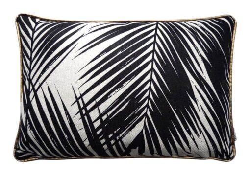 kussen zwart wit palmbladeren langwerpig