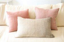 kussens roze bruin wol