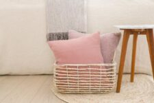 kussens roze plaid beige