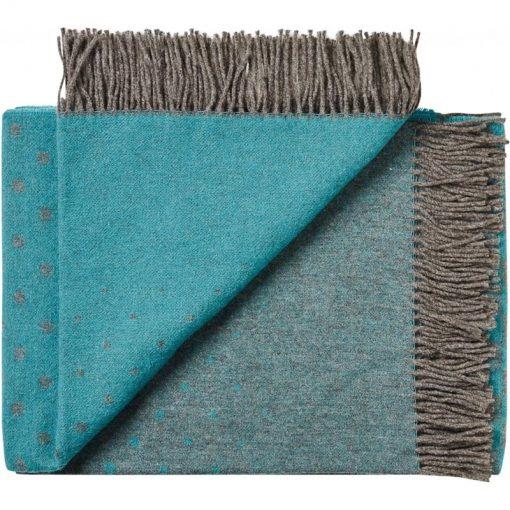 plaid petrol blauw wol