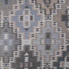 kussen blauw beige ethnic meubelstof detail