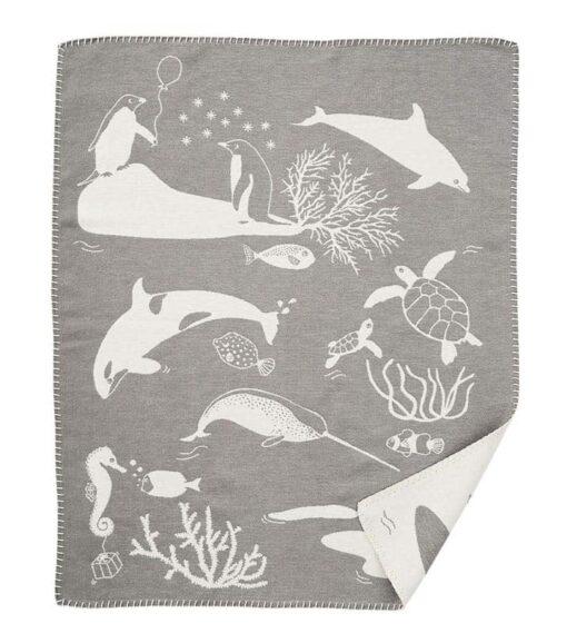 wiegdeken grijs katoen sealife
