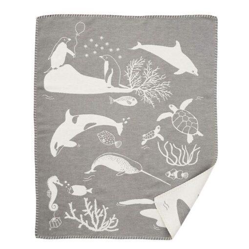 wiegdeken grijs katoen sealife klippan