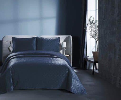 bedsprei blauw bed