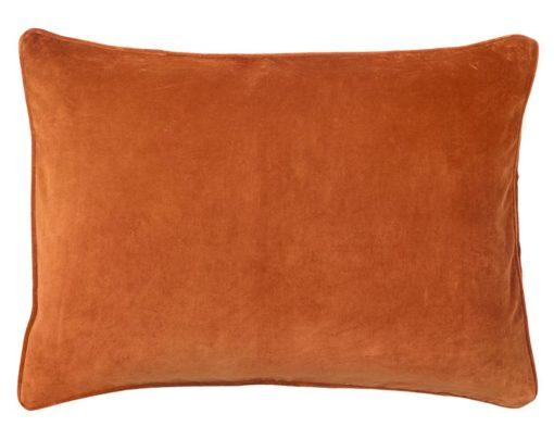 kussen oranje velvet langwerpig 70 cm